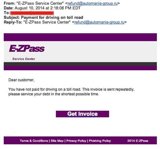 E-ZPass Scam Email
