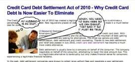 Credit Card Debt Settlement Act of 2010 Makes It Easier to Eliminate Debt