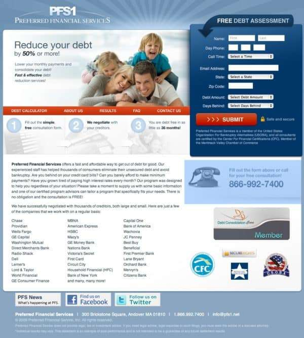 Preferred Financial Services Home Page